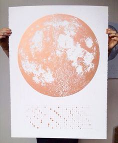 Copper 2015 Moon Phases Calendar, 22x30 large screenprint, also silver gold or grey print on black, pink luna lunar wall art, space, stars by alittlelark on Etsy