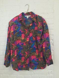 vintage 90s LISA FRANK esque blouse leaf rainbow by SoftFuture