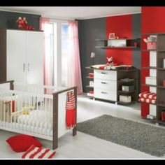 Carin-- here's a Red grey nursery! Ps. That awesome rug is from Crate and Barrel. I have it in green in Finley's nursery- love it!