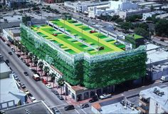 Ballet Valet Parking Garage, Miami Beach - Parking Garage with vertical green zone & topiary - above shops along the streets