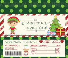 Elf Candy Wrapper {Printable} Choose Your Elf  Message!  Perfect for your North Pole Breakfast or special Elf on the Shelf planning idea!
