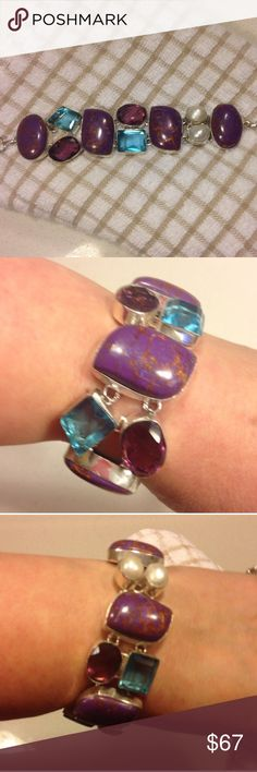 GENUINE Mojave Purple Turquoise , Pearl, Topaz Brand New! BLUE TOPAZ (16 + ct fancy faceted chunk cut gemstones ) + AMETHYST (15.5+ ct. checkerboard faceted) + MOJAVE PURPLE TURQUOISE (45+ct cabochons) +(2) Large GENUINE WHITE RIVER PEARLS make up this link CHUNK BRACELET SILVER .925 STERLING (stamped) with three adjustment of hoop clasps - the blue is high pigmented - you won't be disappointed - so pretty - Plus FREE NEW Mystery thank you gift - fits wrists from 6 to 8 inch.- skilled…