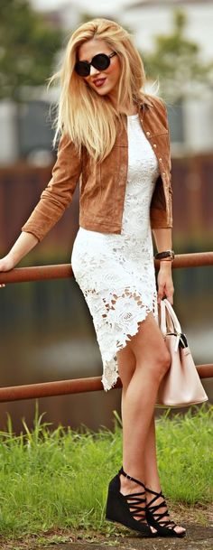 Black Lace Up Wedge Sandals Camel Suede Jacket White Lace Dress Fall Inspo by Fashion Painted Dreams