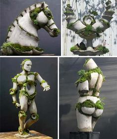 Artist Robert Cannon uses terraform figures, animals and pillars with intentional pockets where moss can grow.