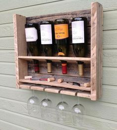 Small Reclaimed Pine Wine Rack | This compact reclaimed wood wine rack is simple and functional... | Wall Shelves  Ledges