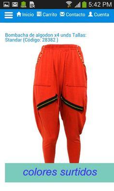 Lindo Pantalon BombaCha talla StandaR color rojo morado negro A solo $ 7500 pesos