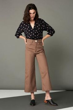 Flora Pant in Mauve. Whimsy + Row FW'17 Eco-Friendly Clothing. Ethical brand, sustainably made in LA. Sustainable fabrics, sustainable fashion. Made in USA. Locally made. Culottes, wide legged pants, high rise pants, high waisted pants.