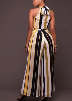 Buy Chicloth Women Striped Wide Leg Jumpsuit Halter Neck Sleeveless High Waist Romper Bodysuit,Cheap Womens Casual Pants,Cheap Jumpsuits and Rompers. Stylish Plus Size Clothing, Plus Size Outfits, Plus Size Fashion, Long Jumpsuits, Jumpsuits For Women, African Fashion Dresses, African Dress, Chic Outfits, Fashion Outfits