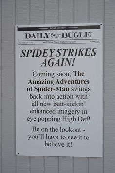 Spider-man the ride at Universal Daily Bugle HD upgrade press release