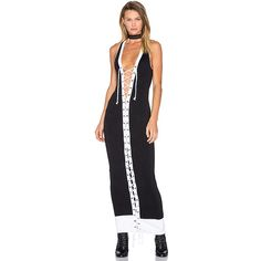 Fenty by Puma Lacing Ribbed Midi Dress ($352) ❤ liked on Polyvore featuring dresses, cotton midi dress, lace up front dress, mid calf dresses, ribbed dress and puma dress