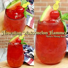 Hawaiian Watermelon Hammer is the drink you will be serving to your guests all summer long. So cool and refreshing. Everyone will go crazy for this cocktail! Watermelon Mixed Drinks, Watermelon Alcoholic Drinks, Watermelon Punch, Watermelon Cocktail, Alcoholic Punch, Alcoholic Beverages, Top Drinks, Summer Drinks, Cocktail Drinks