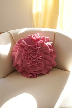 Ruffle Rose Pillow  made from a recycled wool sweater...