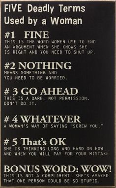 Five Deadly Terms Used By a Woman #quote #wall #art
