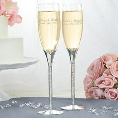 Tube Stem with Crystal Stones Champagne Flutes #personalized #toasting #wedding