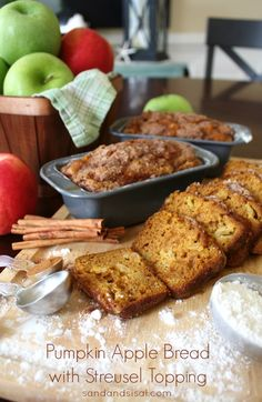 YUM, great combo, love breads with chunks of apple --> Pumpkin Apple Bread with Streusel Topping #fall #Thanksgiving #brunch
