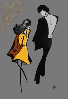 """""""Quelques pas au bord du coeur, quelques pas en bord de vie, quelques pas en douceur, quelques pas en bordure de rive, notre amour né  en cette saison ivre de couleurs."""" Citation de Sandra Dulier sur un dessin de Feel The Line - Tatyana Markovtsev - Automne - Amour  - Poésie"""