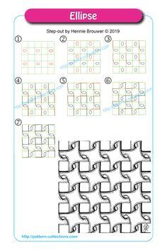 Ellipse by Hennie Brouwer Easy Zentangle Patterns, Zen Doodle Patterns, Doodle Art Designs, Art Patterns, Paper Patterns, Zentangle Drawings, Doodles Zentangles, Zantangle Art, Op Art