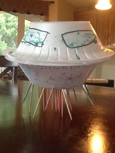 Easy Kids crafts- spaceship by Natalie-made w/bowls, toothpicks and paint
