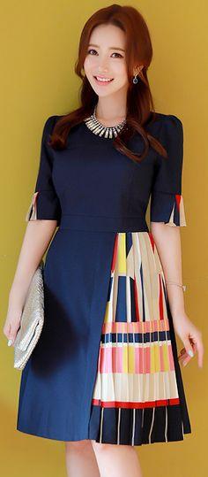 StyleOnme_Asymmetrical Color Pleated Dress #navy #unique #pleat #dress #koreanfashion #kstyle #dress #elegant #spring