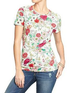 Womens Printed Slub-Knit Tees $12 at Old Navy. I love this top so much that I just bought it in the blue floral too. It's easy to dress up for work with a skirt and nice jewelry, or to just throw on with jeans on the weekend.