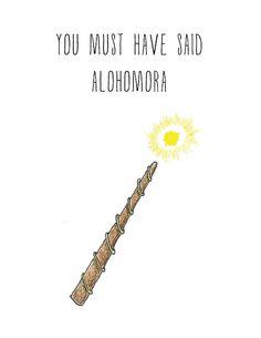 Alohomora Harry Potter Valentine Illustrated Card on Etsy, $5.00