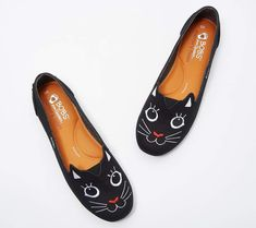 New Skechers BOBs Slip-On Shoes - Catitude - womens shoes. offers on top store Vans Slip On, Slip On Sneakers, Slip On Shoes, Flat Shoes, Bob Shoes, Cute Cat Face, Travel Shoes, Luxury Shoes, Ladies Dress Design