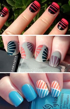 A new video teaching you how to easily recreate these striping tape nail art designs at home! - http://youtu.be/K2s6w5WXLZQ - #nailart #stripingtape #easynails #arcadianailart
