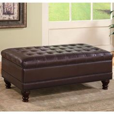 This elegant piece can be used as a coffee table, storage unit and extra seat. It features button tufted cushioning and a rich, dark matching upholstery and finish to make a striking addition to your home.