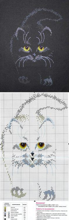 Контурный котейка крестиком. Схема