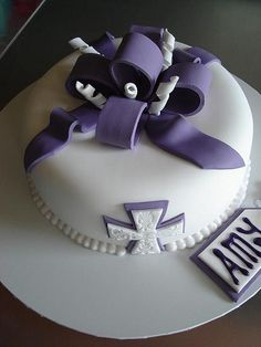 holy communion cake by Cre8acake, via Flickr.    Change the bow.  Like the embossed detail on cross.