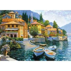 "Printfinders Lake Como Landing by Howard Behrens Painting Print on Canvas Size: 20"" x 28"""