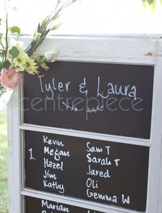 Love Love Love this Seating Sign Blackboard Window Blackboard Wedding, Wedding Signage, Rustic Wedding, Chalkboard, Our Wedding, Chic Wedding, Blackboards, Seating Charts, Catering