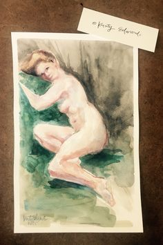 Watercolor study from oil female nude Kristy edwards