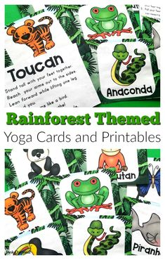 These rainforest themed yoga cards and printables are great to  movement to your lesson plans.  Kids will love these poses  that include toucan, piranha, anaconda and more.  Perfect for preschool, kindergarten and up.  These activities are great for school, OT, PT, preschool and home.  #kidsyoga Fine Motor Activities For Kids, Sensory Activities, Infant Activities, Sensory Play, Preschool Curriculum, Free Preschool, Preschool Kindergarten, Rainforest Theme, Rainforest Animals