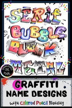 Back To School Art, Middle School Art Projects, Art School, High School, Art Education Lessons, Art Lessons For Kids, Art Lessons Elementary, Graffiti Names, Graffiti Lettering