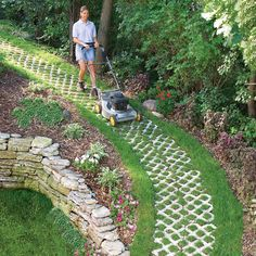 The concrete paver path grid holds soil and grass in place even on steep slopes while providing good traction for wheelbarrows and lawn mowers. tips grass A Paver Path that Grows Garden Edging, Lawn And Garden, Garden Paths, Lawn Edging, Garden Beds, Garden Pool, Landscaping Supplies, Backyard Landscaping, Landscaping Ideas