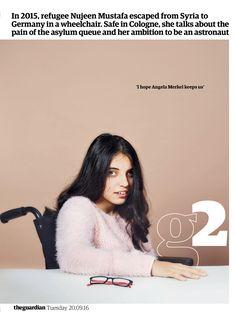 Guardian g2 cover: Nujeen Mustafa #editorialdesign #newspaperdesign #graphicdesign #design #theguardian
