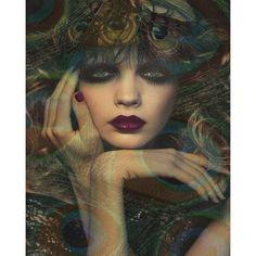 Peacock Goddess photomontage digital art print teal by VoogsArt, $24.00