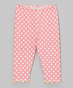 Take a look at this Pink & Cream Polka Dot Lettuce-Edge Capri Pants - Toddler & Girls by Tutu & Lilli on #zulily today!