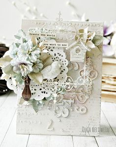 Shabby Chic wedding invitation idea, made by Old Heldwein. Would make a very cute christening greetings card, or new baby handmade greetings card too. Using Prima flowers and Ingvild Bolme elements.