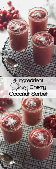 A warm weather dessert staple is only minutes away! Skinny Cherry Coconut Sorbet only has 4 healthy, natural ingredients and is full of fruity flavor!