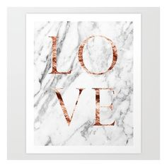 Rose gold marble LOVE Art Print (20 AUD) ❤ liked on Polyvore featuring home, home decor, wall art, rose gold home decor, rose gold home accessories and marble home decor