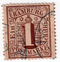 Hamburg Scott #14 used 1864 1s brown H  F-VF  typography pre Germany