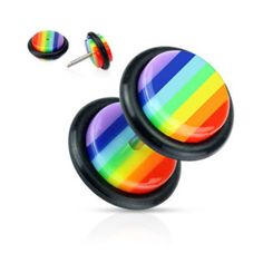 Rainbow Striped Acrylic Fake Plug with O-Ring; The piece is sold individually. Gender: Female. Age Group: Adult. Pattern: Striped. Material: Acrylic.