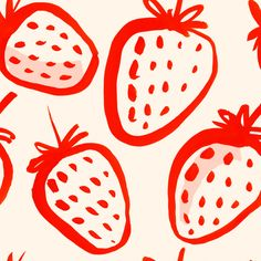 "strawberry pattern Motiv: ""erdbeeren_painted"" (#67233) © irenezs  No 2 in stoffn's strawberry pattern contest in June 2015."