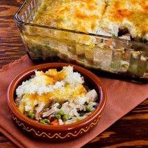 Recipe for Leftover Turkey (or chicken) Shepherd's Pie Casserole with Garlic-Parmesan Cauliflower Topping (PunchFork Chicken)