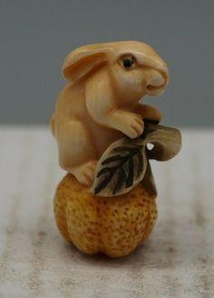 Hand Carved Japanese Ox Bone Netsuke - Rabbit - Oriental - Signed