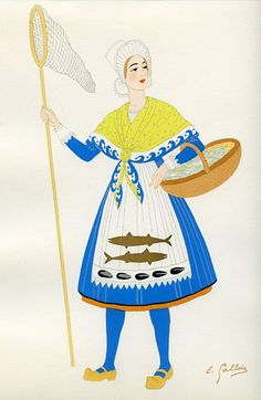 Artois, French Provincial Costumes (1936), artist: Emile Gallois Costume Français, French Costume, Folk Clothing, Les Religions, French Provincial, Traditional Outfits, Culture, Gowns, Illustration
