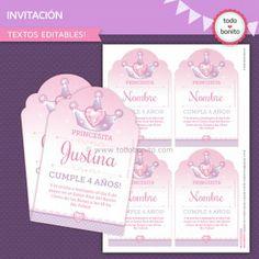 Invitacion de cumpleaños de princesa para imprimir