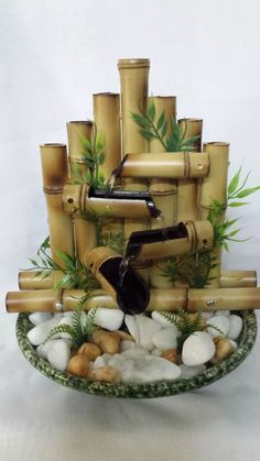 You are in the right place about Indoor water fountains diy Here we offer you the most beautiful pic Homemade Water Fountains, Indoor Water Fountains, Indoor Fountain, Bamboo Water Fountain, Diy Fountain, Waterfall Fountain, Diy Water Feature, Diwali Craft, Wrought Iron Decor